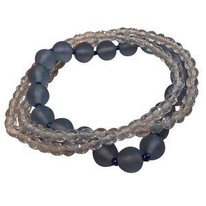 Set of 3 Blue & Clear Beaded Stretch Bracelets